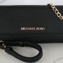Michael Kors Crossbody Wallet Chain Clutch Phone 6 Plus Iphone 6 Saffiano Black Photo