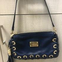 Michael Kors Denim Blue Leather Braided Clutch Purse Photo