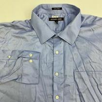 Michael Kors Dress Shirt Mens 19 Blue 34/35 Sleeve Non-Iron Big Business Shirt Photo