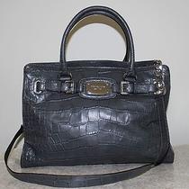Michael Kors E/w Hamilton Gray Croc Leather Large Satchel Tote Bag Purse Euc398 Photo