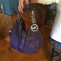 Michael Kors Eggplant Purple Genuine Leather Hobo Shoulder Purse Bag Chain Photo