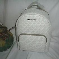 Michael Kors Erin Medium Backpack Bright White Mk Logo Messenger Handbag Photo