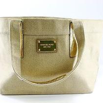 Michael Kors Est 1981 Limited Edition Tan Khaki Metallic Gold Tote Bag Like New  Photo