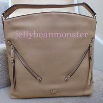 Michael Kors Evie Leather Double Zipper Hobo Shoulder Bag Purse L Butternut Photo