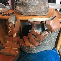 Michael Kors Faye Platform Wedge Sandals Sz 8 W/free Matching Express Wristlet Photo