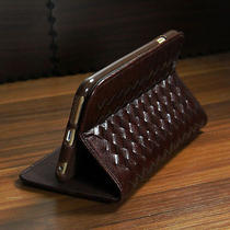 Michael Kors Flip Fold Case - for Apple Iphone 6 - Woven Leather Brown - Nib Photo