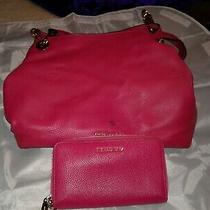 Michael Kors Fuchsia Color Hobo Style Purse W/matching Wallet Photo