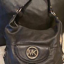 Michael Kors Fulton Black Pebbled Leather Hobo Shoulder Purse Satchel Handbag Photo