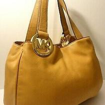 Michael Kors Fulton Camel Tan Genuine Leather Hobo Shoulder Purse Bag Photo