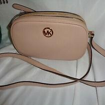 Michael Kors Fulton Double Zip Crossbody Small Shoulder Handbag Blush Leather Photo