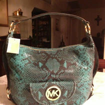 Michael Kors Fulton Handbag - Purse - Python Genuine Leather in Aqua Photo
