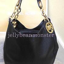 Michael Kors Fulton Leather Silver Chain L Shoulder Bag Hobo Purse Black Gold Photo