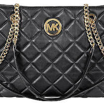 Michael Kors Fulton Quilted Black Leather Tote Photo