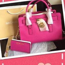 Michael Kors Fuschia Gold Hamilton Satchel Handbag Purse and Wallet Iphone Case Photo