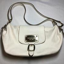 Michael Kors Genuine Leather Hobo Shoulder Purse Bag White-Cream Photo