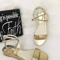 Michael Kors Gold Kaylee Flat Metallic Pale Gold Leather Sandal Size 5.5m  Mk Photo