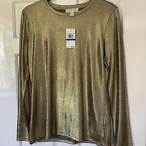 Michael Kors Gold Long Sleeve Top-  Size Xl Brand New & Genuine Photo
