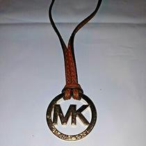 Michael Kors Gold Mk Logo Purse Charm/key Chain Fob Hangtag Photo