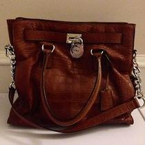 Michael Kors Hamilton Large Ns Tote  Mocha Embossed Croc Photo