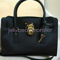 Michael Kors Hamilton Leather Ew Satchel Shoulder Bag Purse Black New Tag Photo