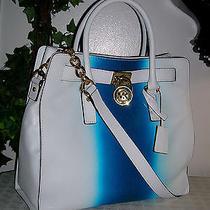 Michael Kors Hamilton(n s)white/ Blue Leather Large Satchel Tote Bag/purse Nwt Photo