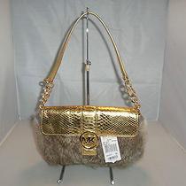 Michael Kors Handbag Small Fulton Fur Flap Bag 298  Gold / Natural Photo