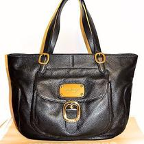 Michael Kors Hudson Downtown Black Large Leather Shoulder Tote Bag Nwt 498.00 Photo
