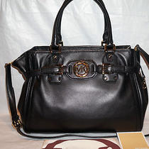 Michael Kors Hudson Leather Black Large Tote Satchel Bag/purse 30h2ghut3l Photo