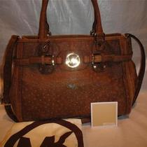 Michael Kors Hudson Mocha Vintage Embossed Ostrich  Satchel Bag/purse 30h2ghut3y Photo
