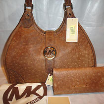 Michael Kors Hudson Mocha Vintage Embossed Ostrich Shoulder Bag/purse  Wallet Photo