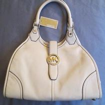 Michael Kors Hudson Optic White Pebbled Leather Hobo Purse Womans Nwt Photo