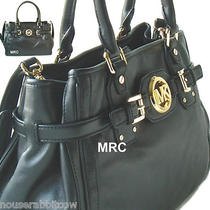 Michael Kors Hudson Soft Leather Black Large Satchel Shopper Tote Shoulder Bag Photo