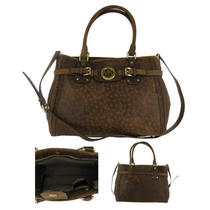 Michael Kors Hudson Womens Vintage Ostrich Leather Handbag Purse 30h2ghut3y213 Photo