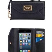 Michael Kors Iphone 5 Wristlet Clutch Wallet Black Leather  Photo
