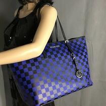Michael Kors Jet Set Blue/black Checkerboard Bag Tote Handbag Rare Photo