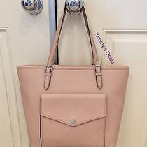 Michael Kors Jet Set Large Top Zip Pocket Tote in Blush Saffiano Leather Photo
