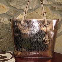 Michael Kors Jet Set Metallic Rose Gold Grab Bag/tote/purse 248 Nwt & Dust Bag Photo
