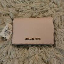 Michael Kors Jet Set Slim Wallet Leather Light Pink Powder Blush Bi-Fold Nwt Photo