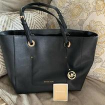Michael Kors Jet Set Travel Black Leather Large Tote Hobo Shoulder Bag Handbag Photo