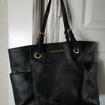Michael Kors Jet Set Travel Black Pebble Leather Large Hobo Shoulder Bag Handbag Photo