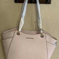 Michael Kors Jet Set Travel Large Chain Shoulder Tote Powder Blush Pink Leather Photo