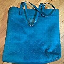 Michael Kors Jet Set Turquoise Neoprene Patent Leather Tote Bag Blue Green Aqua Photo