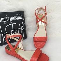 Michael Kors Kaylee Flat Mandarin Orange Embossed Leather Sandal Size 5  Mk Photo