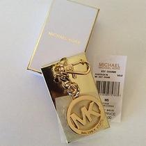 Michael Kors Key Chain Key Ring Mk Medallion Logo Key Fob Charm Gold Nwt Nib Photo