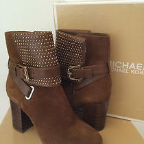 Michael Kors Krista Micro-Stud Suede Ankle Boot in Luggage Size 6 Nwb  Photo