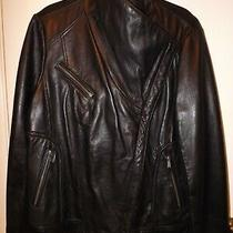 Michael Kors Lamb Skin Leather Moto Jacket Black Plus Size Women's 2x Photo