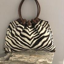 Michael Kors Large Animal Zebra Print Tote Hobo Handbag Purse Travel Bag Photo