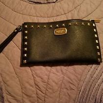 Michael Kors Large Black Stud Large Leather Wristlet Envelope Purse Handbag  Photo