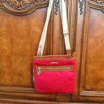 Michael Kors Large Kempton Lacquer Pink Leather Trim Crossbody Handbag Nwt Photo