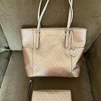 Michael Kors Large Leather Tote in Rose Pink W/matching Wallet Photo